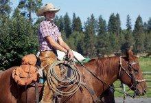 Cowgirl und Pferd